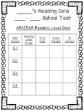 Student STAR/Accelerated Reading Data Recording Sheet