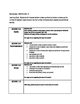 Student Scale for 3rd Grade Operations and Algebraic Thinking Standards