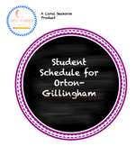Student Schedule Printable for Orton-Gillingham 1 Page Lesson Template