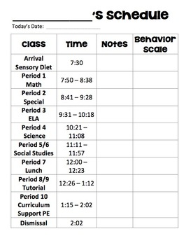Student Schedule and Behavior Schedule