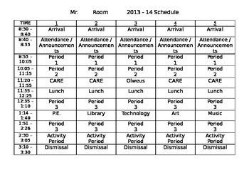 Student Schedule for Beginning of school year