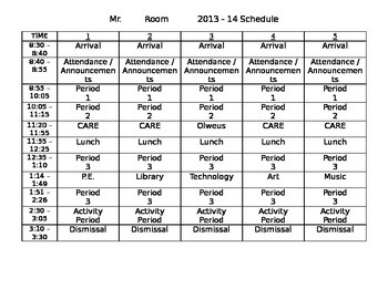 Student Schedule for Beginning of school year