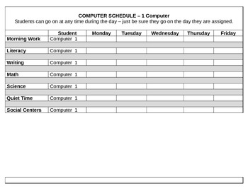 Student Schedule for Computer Time