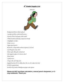 Student School Supply List