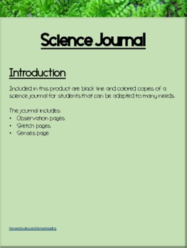 No Prep: Student Science Journal Template