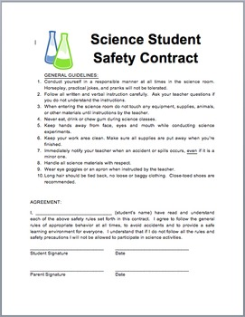Student Science Safety Contract
