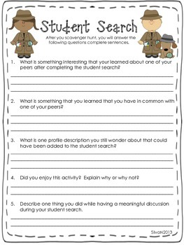 Student Search - A First Day of School Activity