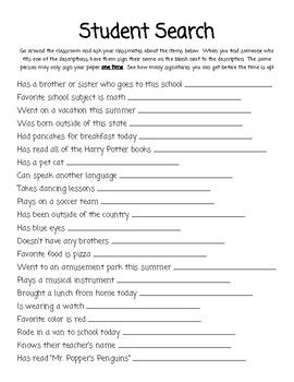 Student Search - First Day of School Activity