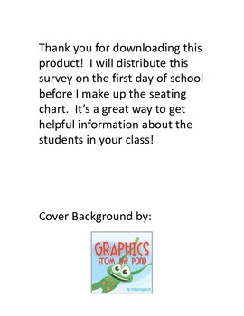 Student Seating Preference Survey