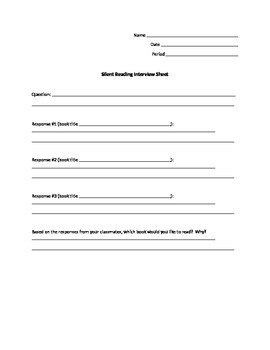 Student Selected Reading Interview Sheet
