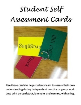 Student Self Assesment Cards