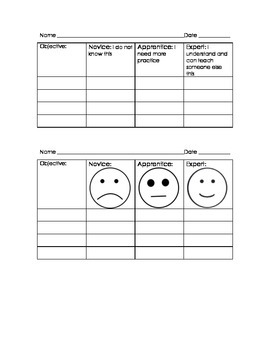 Student Self Assessment Chart