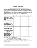 Student Self Assessment Daily Behavior Checklist