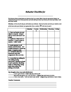 Student Self Assessment Daily Behavior Checklist by John Blackwell EdD