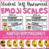 Student Self Assessment Emojis Marzano Scale Levels of Und