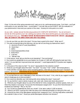 Student Self Assessment Essay for End of Year