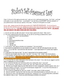Student Self Assessment Essay for End of Grading Period or Year