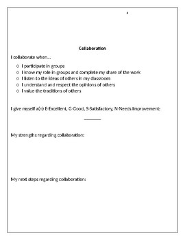Student Self Assessment Form (Learning Skills)