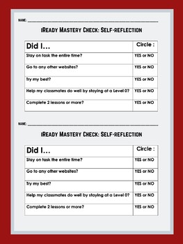 Student Self-Assessment/Mastery Check for iReady