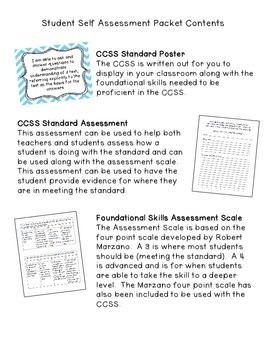 Student Self Assessment Packet for CCSS RL.3.1, 3.2, and 3.3