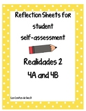 Student Self-Assessment Reflections Sheets for Realidades 2 4A and 4B