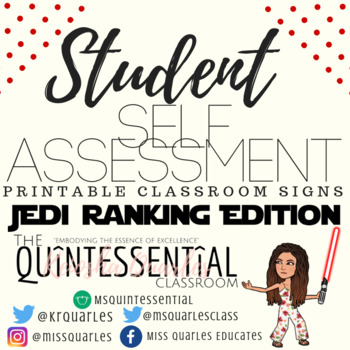 Student Self-Assessment Rubric/Classroom Signs (Star Wars Jedi Rankings Edition)