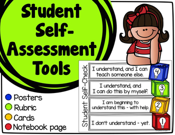 Student Self-Assessment Tools - Posters, Cards, & Student Response Page