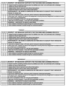 Student Self Assessment Weekly Behavior Sheet
