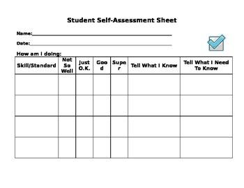 Student Self Assessment Worksheet