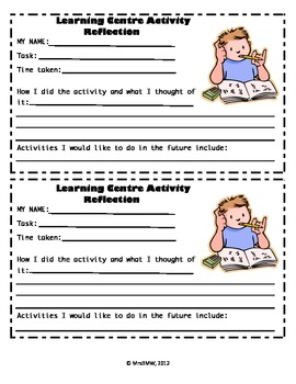 Student Self Assessment and Reflection Cards for Learning Centre Activities