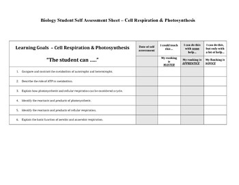 Student Self Assessment for Biology - Learning Goals Included for Six Units!