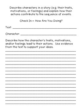 Student Self Assessment for CCSS RL.3.3