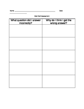 Student Self Assessment for Math