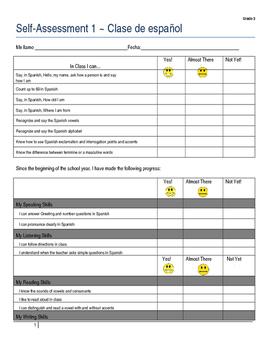 Student Self-Assessment Template for Semester 1 ~ Grade 3