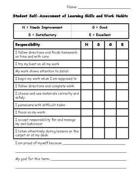 Student Self-Assessment of Learning Skills