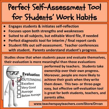 Student Self-Assessment of Work Habits (Strengths & Weakne