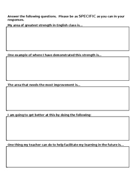 Student Self-Assessment of Work Habits (Strengths & Weaknesses) for Report Cards