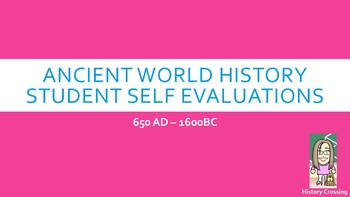 Student Self Assessment for Ancient World History