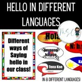 Hello in different languages - classroom greetings display.