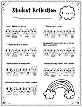 Student Self-Assessment with Emojis:  Older Elementary (Perfect for ART)