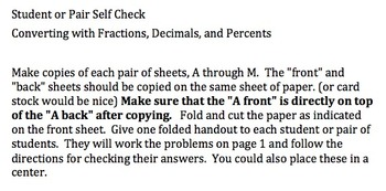 Convert Fractions, Mixed Numbers, Decimals, and Precent: Student Self Check