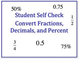 Convert Fractions, Mixed Numbers, Decimals, and Precent: S
