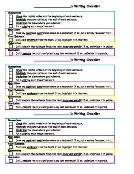 Student Self-Check Writing Checklists