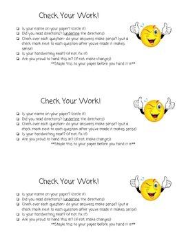 Student Self Checklist (Slow down)