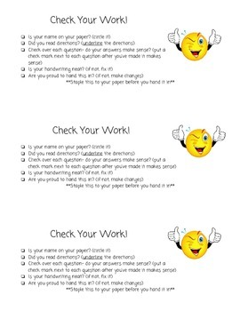 Student Self Checklist (Slow down)