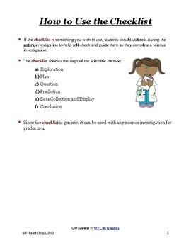 Student Self-Checklist for Science Investigations - FREE!