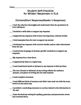 Student Self-Checklist for Written Responses