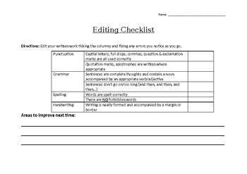 Student Self-Editing Checklist
