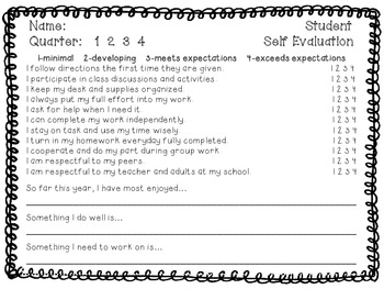 Student Self Evaluation