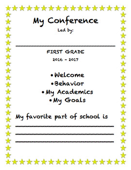 Student Led Conference Cover Page